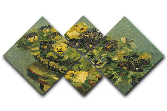Basket of pansies on a small table by Van Gogh 4 Square Multi Panel Canvas