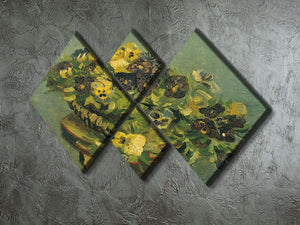 Basket of pansies on a small table by Van Gogh 4 Square Multi Panel Canvas - Canvas Art Rocks - 2