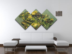 Basket of pansies on a small table by Van Gogh 4 Square Multi Panel Canvas - Canvas Art Rocks - 3