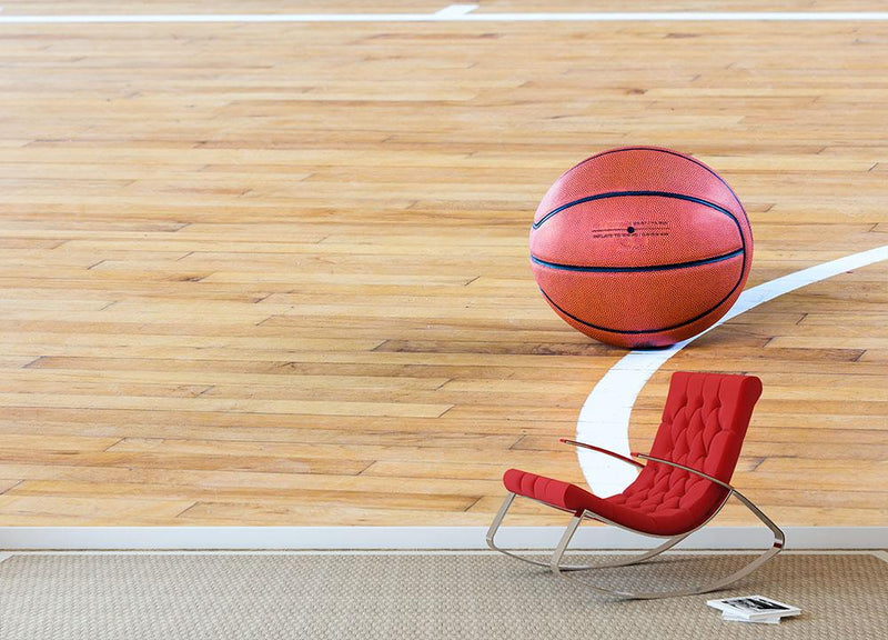 Basketball ball in the gym Wall Mural Wallpaper - Canvas Art Rocks - 1