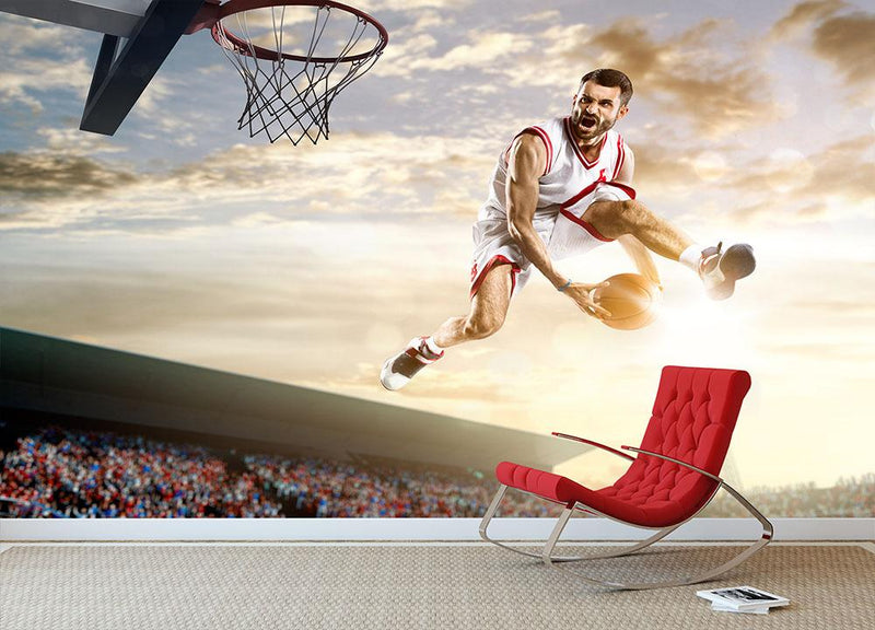 Basketball player in action Wall Mural Wallpaper - Canvas Art Rocks - 1
