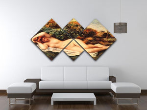 Bathing sleeping the baker by Renoir 4 Square Multi Panel Canvas - Canvas Art Rocks - 3