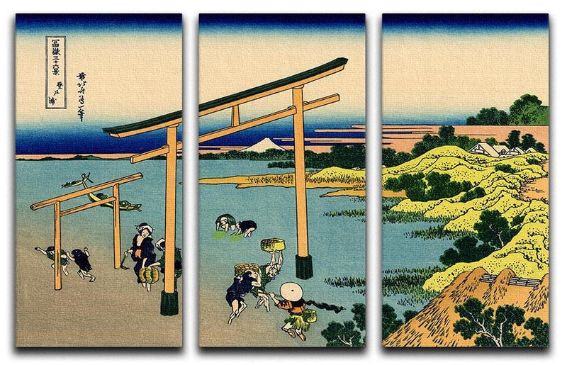 Bay of Noboto by Hokusai 3 Split Panel Canvas Print - Canvas Art Rocks - 1