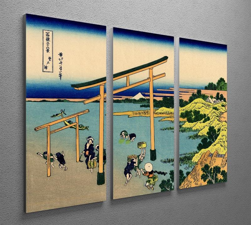 Bay of Noboto by Hokusai 3 Split Panel Canvas Print - Canvas Art Rocks - 2