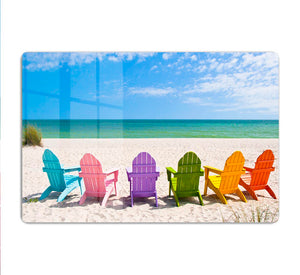 Beach Chairs on a Sun Beach HD Metal Print - Canvas Art Rocks - 1
