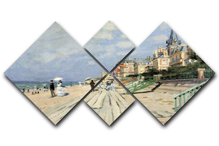 Beach at trouville by Monet 4 Square Multi Panel Canvas