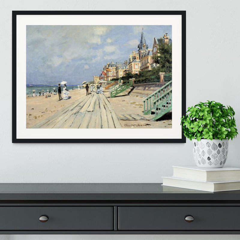 Beach at trouville by Monet Framed Print - Canvas Art Rocks - 1