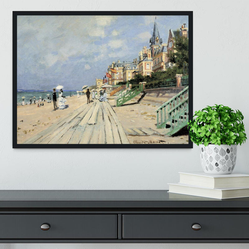 Beach at trouville by Monet Framed Print - Canvas Art Rocks - 2