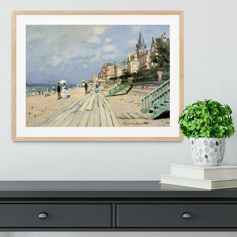 Beach at trouville by Monet Framed Print - Canvas Art Rocks - 3