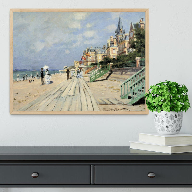 Beach at trouville by Monet Framed Print - Canvas Art Rocks - 4