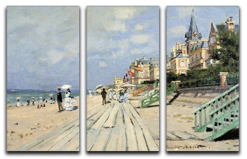 Beach at trouville by Monet Split Panel Canvas Print - Canvas Art Rocks - 4