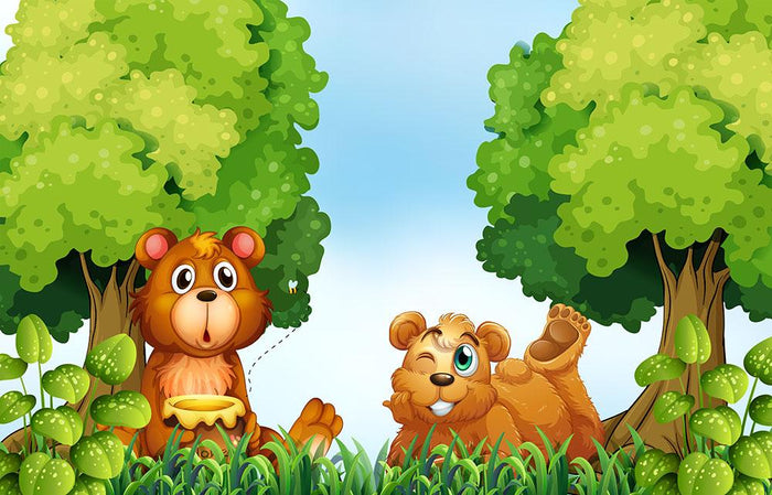 Bears and jar of honey in the forest Wall Mural Wallpaper