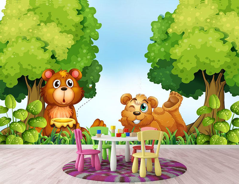 Bears and jar of honey in the forest Wall Mural Wallpaper - Canvas Art Rocks - 1