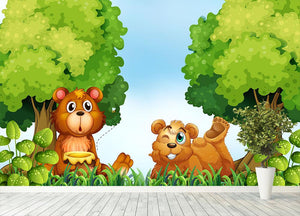 Bears and jar of honey in the forest Wall Mural Wallpaper - Canvas Art Rocks - 4
