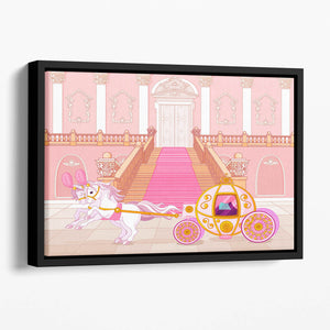 Beautiful fairytale pink carriage Floating Framed Canvas