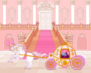 Beautiful fairytale pink carriage Wall Mural Wallpaper - Canvas Art Rocks - 1