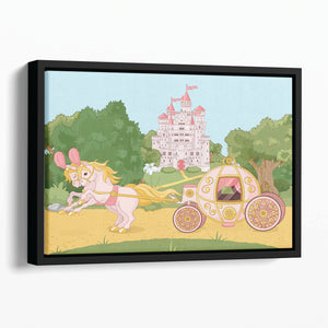 Beautiful fairytale pink carriage and castle Floating Framed Canvas