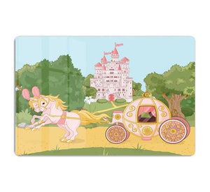 Beautiful fairytale pink carriage and castle HD Metal Print