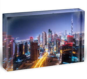 Beautiful night cityscape of Dubai Acrylic Block - Canvas Art Rocks - 1