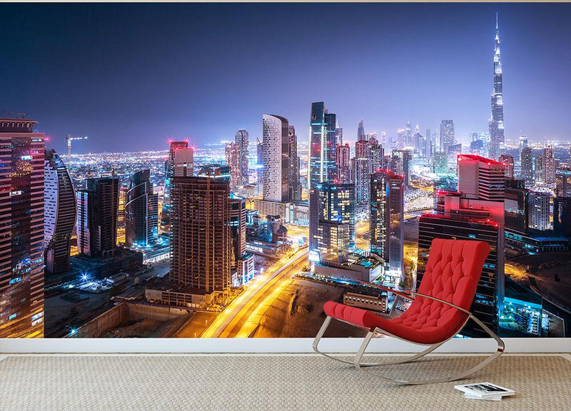 Beautiful Night Cityscape Of Dubai Wall Mural Wallpaper