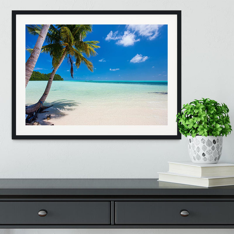 Beautiful tropical beach with palm trees Framed Print - Canvas Art Rocks - 1