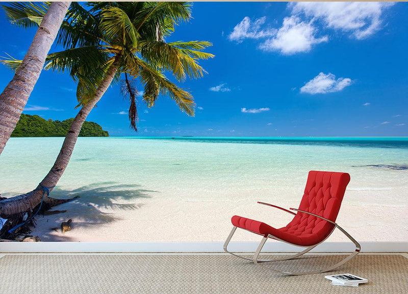 Beautiful tropical beach with palm trees Wall Mural Wallpaper - Canvas Art Rocks - 1