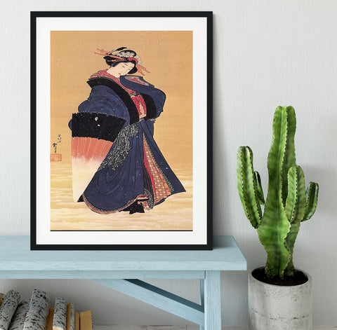 Beauty with umbrella in the snow by Hokusai Framed Print - Canvas Art Rocks - 1