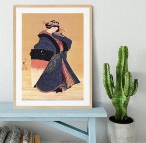 Beauty with umbrella in the snow by Hokusai Framed Print - Canvas Art Rocks - 3