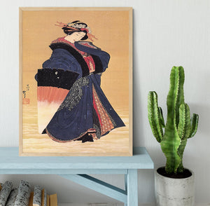 Beauty with umbrella in the snow by Hokusai Framed Print - Canvas Art Rocks - 4