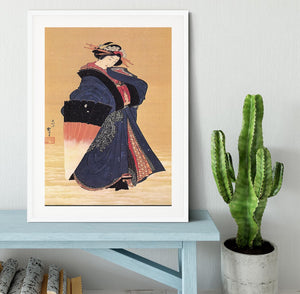 Beauty with umbrella in the snow by Hokusai Framed Print - Canvas Art Rocks - 5