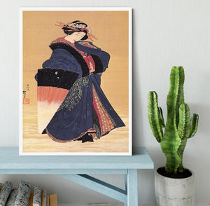 Beauty with umbrella in the snow by Hokusai Framed Print - Canvas Art Rocks -6