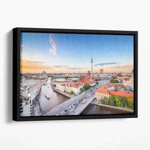 Berlin skyline on the Spree River Floating Framed Canvas