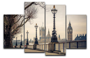 Big Ben and Houses of parliament 4 Split Panel Canvas  - Canvas Art Rocks - 1