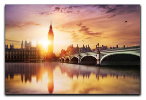Big Ben and Westminster Bridge at dusk Canvas Print or Poster  - Canvas Art Rocks - 1