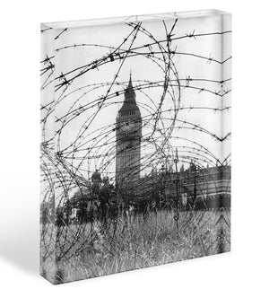 Big Ben through barbed wire Acrylic Block - Canvas Art Rocks - 1