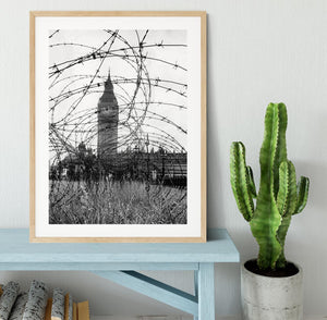 Big Ben through barbed wire Framed Print - Canvas Art Rocks - 3