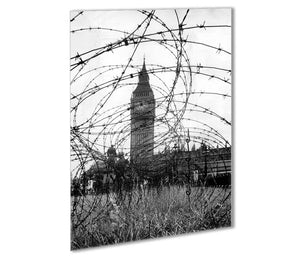 Big Ben through barbed wire Outdoor Metal Print - Canvas Art Rocks - 1