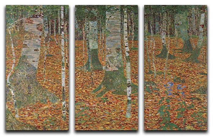 Birch Forest by Klimt 3 Split Panel Canvas Print