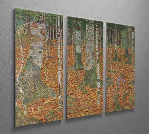 Birch Forest by Klimt 3 Split Panel Canvas Print - Canvas Art Rocks - 2