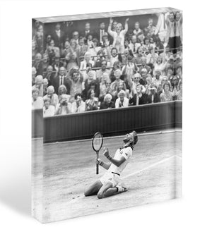Bjorn Borg celebrates at Wimbledon Acrylic Block - Canvas Art Rocks - 1