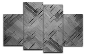 Black Chevron Background 4 Split Panel Canvas - Canvas Art Rocks - 1