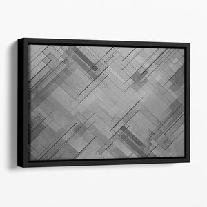Black Chevron Background Floating Framed Canvas - Canvas Art Rocks - 1