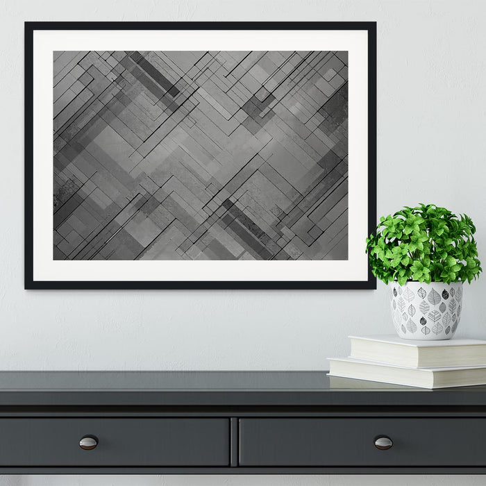 Black Chevron Background Framed Print
