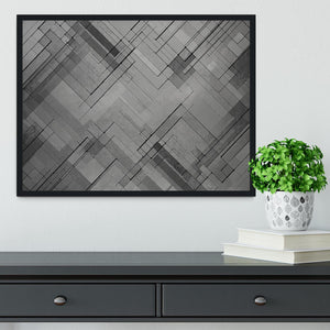 Black Chevron Background Framed Print - Canvas Art Rocks - 2