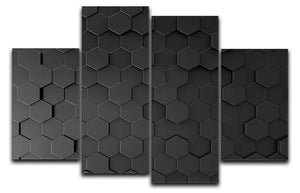 Black Hexagon Pattern 4 Split Panel Canvas - Canvas Art Rocks - 1