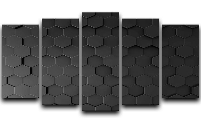 Black Hexagon Pattern 5 Split Panel Canvas