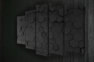 Black Hexagon Pattern 5 Split Panel Canvas - Canvas Art Rocks - 2