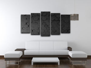 Black Hexagon Pattern 5 Split Panel Canvas - Canvas Art Rocks - 3