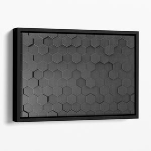 Black Hexagon Pattern Floating Framed Canvas - Canvas Art Rocks - 1
