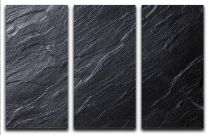 Black Textured Stone 3 Split Panel Canvas Print - Canvas Art Rocks - 1